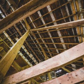 Interior rafters of barn.