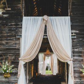 Draped barn entrance.