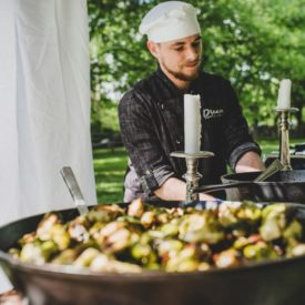 Chef-manned food station.