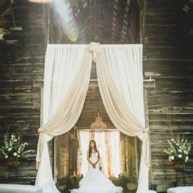 Bridal portrait in draped barn entrance.